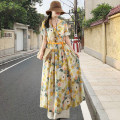 Dress Summer 2021 yellow S,M,L,XL,2XL longuette singleton  Long sleeves commute V-neck Elastic waist Solid color Single breasted Irregular skirt routine 25-29 years old Type A Tagkita / she and others literature Bandage, print More than 95% hemp