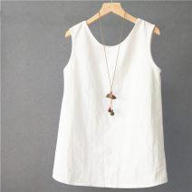 T-shirt white Average size Spring 2021 Sleeveless Crew neck easy Regular routine cotton 71% (inclusive) - 85% (inclusive)