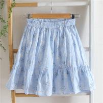 skirt Spring 2021 XS,S,M,L,XL Light blue, white Short skirt Versatile Natural waist Fairy Dress Broken flowers Type A