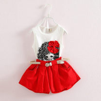 suit Other / other 100, 110, 120, 130, 140, 150 female summer Korean version Sleeveless + pants 2 pieces routine There are models in the real shooting Socket nothing Cartoon animation cotton children Expression of love Cotton 90% nylon 10%