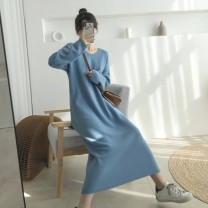 Dress Autumn 2020 Brown, apricot, blue, black S,M,L,XL Mid length dress singleton  Long sleeves commute V-neck High waist Solid color Socket A-line skirt routine 18-24 years old Type A Korean version Splicing 51% (inclusive) - 70% (inclusive)
