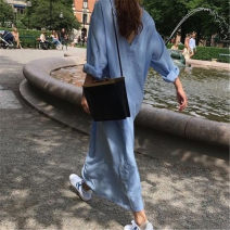 Dress Summer of 2019 Light sky blue Average size longuette singleton  Long sleeves commute other Loose waist Solid color Socket A-line skirt routine Type A Other / other Korean version