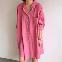 shirt Pink Average size Spring 2020 other 81% (inclusive) - 90% (inclusive) Long sleeves commute Medium length Polo collar Single row multi button shirt sleeve Solid color 18-24 years old Straight cylinder Korean version Button