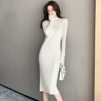 Dress Autumn 2020 S,M,L,XL Mid length dress singleton  Long sleeves commute stand collar High waist Solid color Socket One pace skirt routine 18-24 years old Type A Korean version Button, button 31% (inclusive) - 50% (inclusive) knitting