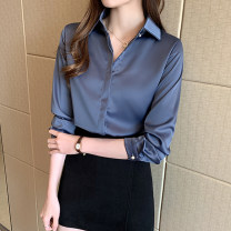 shirt Dark blue, white S,M,L,XL,2XL Spring 2021 other 51% (inclusive) - 70% (inclusive) Long sleeves commute Regular Polo collar Socket routine Solid color 25-29 years old Self cultivation Korean version Button