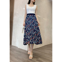 skirt Spring 2021 M, L Navy Blue Mid length dress Versatile High waist Pleated skirt Solid color Type A 30-34 years old 30% and below Cellulose acetate