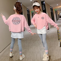 suit Other / other Pink, orange 110cm,120cm,130cm,140cm,150cm,160cm,170cm female spring and autumn leisure time Long sleeve + pants 2 pieces routine There are models in the real shooting Socket nothing other cotton children Expression of love Class B Cotton 65% other 35% Chinese Mainland