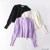 Wool knitwear Spring 2020 S, M Violet, black, white Long sleeves other 81% (inclusive) - 90% (inclusive) street Self cultivation Single breasted Europe and America