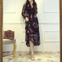 Dress Spring of 2019 Decor S,M,L,XL Mid length dress singleton  Long sleeves commute High collar High waist Decor Socket Big swing puff sleeve Others 30-34 years old Type A AOCHY Retro printing 31% (inclusive) - 50% (inclusive) Chiffon cotton