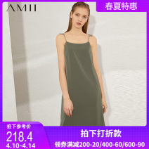 Dress Summer 2020 Golden olive color indicates bean paste color 160/84A/M 170/92A/XL 165/88A/L . 155/80A/S Mid length dress singleton  Sleeveless commute One word collar middle-waisted Solid color Socket A-line skirt other camisole 25-29 years old Type A Amii Simplicity QZ-1208TM0024 other
