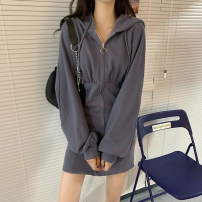 Women's large Autumn 2020 Grey, black, grey [premium], black [premium] Large XL, large XXL, large XXL, large XXXXL, large L, M Dress singleton  commute Self cultivation moderate Socket Long sleeves Solid color Korean version Hood Three dimensional cutting bishop sleeve Eight point six 18-24 years old