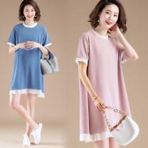 Women's large Summer 2020 Pink, blue, black M,2XL,3XL,4XL,L,XL Dress singleton  commute easy moderate Socket Short sleeve Korean version Plain wood Medium length