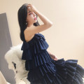 Dress Summer of 2018 Navy Blue S, M Mid length dress singleton  Sleeveless commute Solid color Cake skirt camisole Type H Simplicity Button, zipper