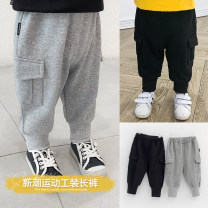 trousers Small die male 80cm,90cm,100cm,110cm,120cm,130cm Black, gray spring and autumn trousers leisure time There are models in the real shooting Sports pants Leather belt middle-waisted Cotton blended fabric Open crotch Other 100% X1409