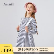 Dress White and blue stripe female Annil / anel 110cm 120cm 130cm 140cm 150cm 160cm 170cm Cotton 88% polyester 11% polyurethane elastic fiber (spandex) 1% spring and autumn leisure time Long sleeves stripe Cotton blended fabric A-line skirt AG013506 Autumn 2020 Chinese Mainland Guangdong Province