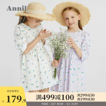 Dress White purple purple white white blue and white female Annil / anel 110cm 120cm 130cm 140cm 150cm 160cm Cotton 100% spring and autumn fresh Long sleeves Broken flowers cotton A-line skirt EG113033 Spring 2021 Chinese Mainland Guangdong Province Dongguan City