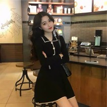 Dress Autumn 2020 Black, Burgundy, apricot S,M,L,XL,2XL Middle-skirt singleton  Long sleeves Sweet Polo collar High waist Socket A-line skirt routine 18-24 years old Type A 71% (inclusive) - 80% (inclusive) knitting polyester fiber princess