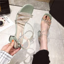 Sandals 34,35,36,37,38,39 Green, red, black, beige white, beige round Superfine fiber Other / other Barefoot Thick heel High heel (5-8cm) Summer 2021 Flat buckle Korean version Solid color Adhesive shoes Youth (18-40 years old), general rubber daily Back space Water drill, thick heel Low Gang Shaving