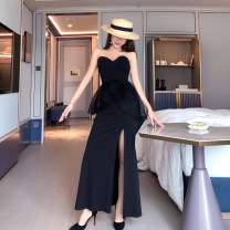 Dress Summer 2021 black S,M,L longuette singleton  Sleeveless commute One word collar High waist Solid color A-line skirt Breast wrapping Other / other Splicing