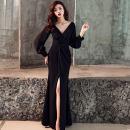 Dress Winter of 2019 Black, red S,M,L longuette singleton  Long sleeves commute V-neck High waist Solid color zipper A-line skirt bishop sleeve Type A Other / other Korean version
