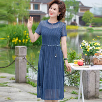 Middle aged and old women's wear Summer 2021 Black, red, blue XL (recommended 90-115 kg), 2XL (recommended 115-130 kg), 3XL (recommended 130-140 kg), 4XL (recommended 140-150 kg), 5XL (recommended 150-160 kg), collection priority delivery, free shipping insurance fashion Dress Self cultivation Socket