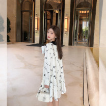 Dress Spring 2021 White background, the second batch of white background S,M,L Middle-skirt singleton  Long sleeves commute Doll Collar Loose waist Abstract pattern Socket A-line skirt shirt sleeve Others 25-29 years old Type A Seven7jia / qiqijia Korean version bow 202102L08 other other