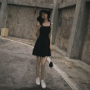 Dress Summer 2021 Black, collect baby, buy and give small gift S,M,L,XL Short skirt singleton  Sleeveless commute One word collar High waist Solid color Socket A-line skirt routine camisole Type A Korean version 3D