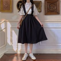Fashion suit Spring 2021 Average size White shirt, black strap skirt 18-25 years old Other / other 96% and above polyester fiber
