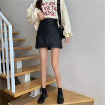 skirt Spring 2021 S,M,L black Short skirt Versatile High waist A-line skirt Solid color Type A 18-24 years old 91% (inclusive) - 95% (inclusive) other Other / other PU 401g / m ^ 2 (inclusive) - 500g / m ^ 2 (inclusive)