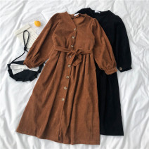 Dress Spring 2021 Black, light brown Average size longuette singleton  Long sleeves commute V-neck High waist Solid color Single breasted A-line skirt routine 18-24 years old Type A Button polyester fiber