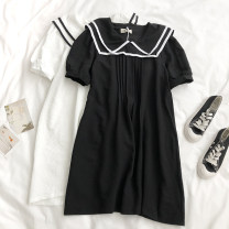 Dress Summer 2021 Black, white Average size Middle-skirt singleton  Short sleeve Admiral High waist Solid color Socket A-line skirt routine 18-24 years old Type A Splicing QD 71% (inclusive) - 80% (inclusive) other polyester fiber
