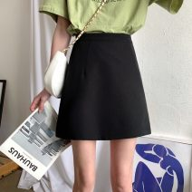 skirt Spring 2021 S,M,L black Short skirt commute High waist A-line skirt Solid color Type A 18-24 years old 71% (inclusive) - 80% (inclusive) polyester fiber Korean version