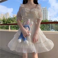 Dress Spring 2021 Picture color Average size Middle-skirt singleton  Short sleeve Sweet square neck High waist Solid color Socket A-line skirt routine 18-24 years old Type A 51% (inclusive) - 70% (inclusive) other polyester fiber solar system