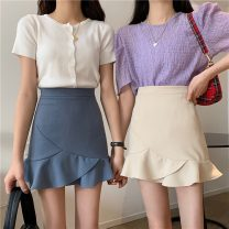 skirt Spring 2021 S,M,L Apricot, black, denim Short skirt Versatile High waist Ruffle Skirt Solid color Type A 18-24 years old 30% and below polyester fiber 401g / m ^ 2 (inclusive) - 500g / m ^ 2 (inclusive)