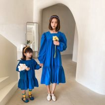 Dress Spring 2021 Red, blue longuette Long sleeves Sweet Solid color Socket Princess Dress Other / other 81% (inclusive) - 90% (inclusive) princess