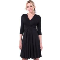 Dress Tenordan black XS,S,M,L,XL,XXL,XXXL Europe and America three quarter sleeve routine summer V-neck Solid color modal  DR957