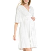Dress Tenordan Navy blue, white XXXL,XXL,XL,L,M,S,XS Europe and America Short sleeve routine summer V-neck Solid color modal