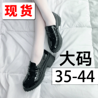 Low top shoes 35,36,37,38,39,40,41,42,43,44 Other / other Round head PU Thick heel Middle heel (3-5cm) Midmouth PU Summer of 2019 Trochanter college Adhesive shoes Solid color plastic cement Single shoes Thick heel PU daily Patent leather