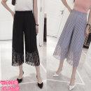 Casual pants grey S,M,L,XL,2XL,3XL,4XL Summer 2017 Wide leg pants High waist Versatile Thin money