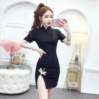 cheongsam Summer 2020 S,M,L,XL black Short sleeve Short cheongsam grace Low slit daily Ruyi lapel Solid color 18-25 years old Nail bead cotton 71% (inclusive) - 80% (inclusive)