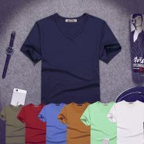 T-shirt Fashion City thin S,M,L,XL,2XL,3XL,4XL,5XL Niu Chenshi Short sleeve V-neck Self cultivation daily summer Polyester 96% polyurethane elastic fiber (spandex) 4% teenagers routine Youthful vigor 2021 Solid color other No iron treatment Domestic non famous brands