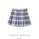 skirt Summer 2020 XS,S,M,L Khaki blue, green, yellow, red and blue Short skirt commute High waist lattice Type A 71% (inclusive) - 80% (inclusive) Retro