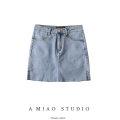 skirt Summer 2020 XS,S,M,L Blue, gray, black Short skirt street High waist 71% (inclusive) - 80% (inclusive) Europe and America