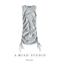 Dress Autumn 2020 Blue, gray, black, beige Average size Short skirt singleton  Sleeveless Crew neck Solid color 71% (inclusive) - 80% (inclusive)