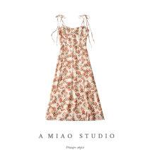 Dress Summer 2020 Off white, Navy, coffee S,M,L longuette singleton  Sleeveless commute High waist camisole Retro 71% (inclusive) - 80% (inclusive)