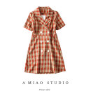 Dress Summer 2020 Brick red grid, pink grid S,M,L Short skirt singleton  Short sleeve commute tailored collar High waist lattice double-breasted routine Retro 71% (inclusive) - 80% (inclusive)