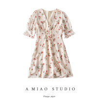 Dress Summer 2020 As shown in the figure S,M,L Short skirt singleton  Short sleeve commute V-neck High waist Retro 71% (inclusive) - 80% (inclusive)