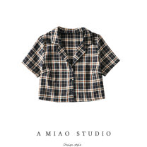 shirt Black check S,M,L Summer 2020 other 71% (inclusive) - 80% (inclusive) Short sleeve street Short style (40cm < length ≤ 50cm) Single row multi button lattice Europe and America