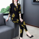 Women's large Summer 2020 Other oversize styles Two piece set commute easy moderate Socket Short sleeve Flower color, broken flower and big flower Korean version Half open collar routine other Three dimensional cutting routine Yingyue 35-39 years old pocket Other polyester 95% 5%