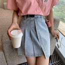 skirt Summer 2021 S M L XL Wash water black wash water blue Short skirt Versatile High waist Irregular Solid color Type A 18-24 years old More than 95% Denim Han Xueren other fold Other 100% Pure e-commerce (online only)